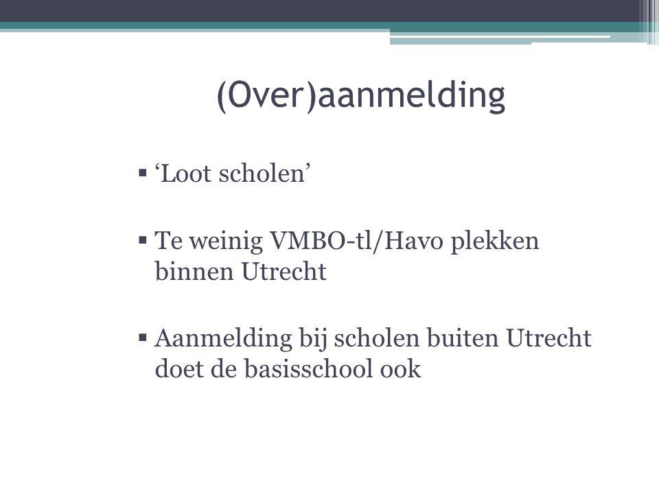 (Over)aanmelding  'Loot scholen'  Te weinig VMBO-tl/Havo plekken binnen Utrecht  Aanmelding bij scholen buiten Utrecht doet de basisschool ook