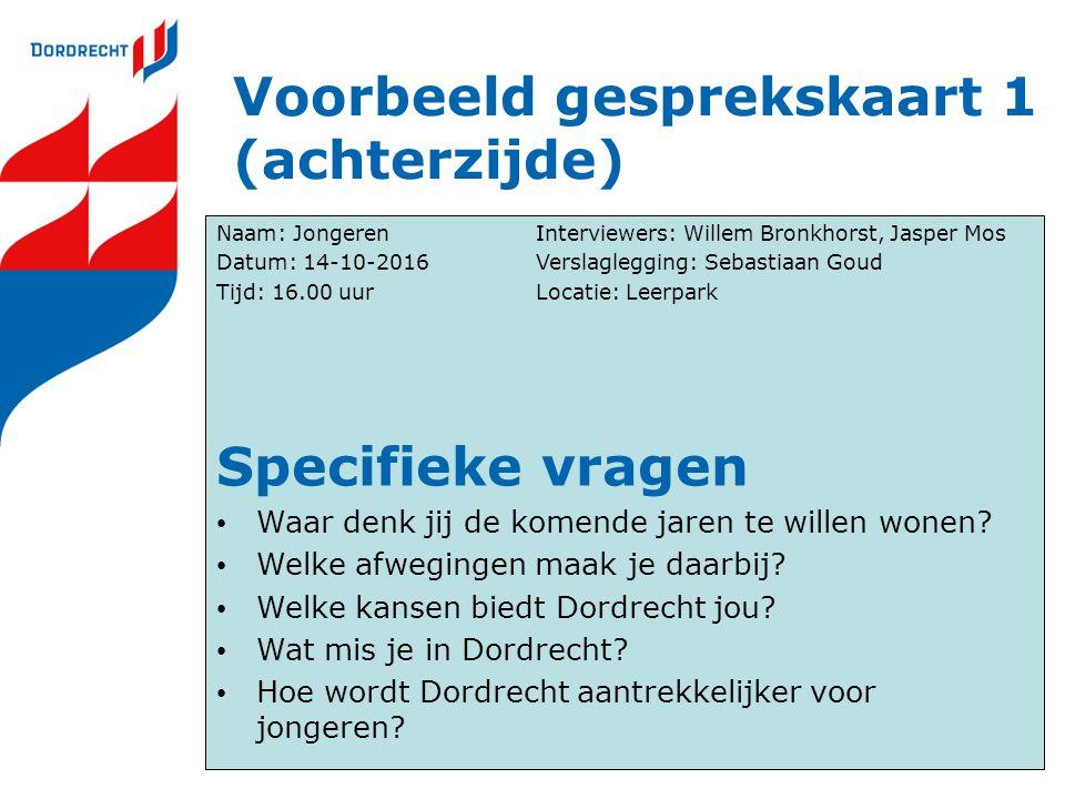 Voorbeeld gesprekskaart 1 (achterzijde) Naam: JongerenInterviewers: Willem Bronkhorst, Jasper Mos Datum: 14-10-2016Verslaglegging: Sebastiaan Goud Tij