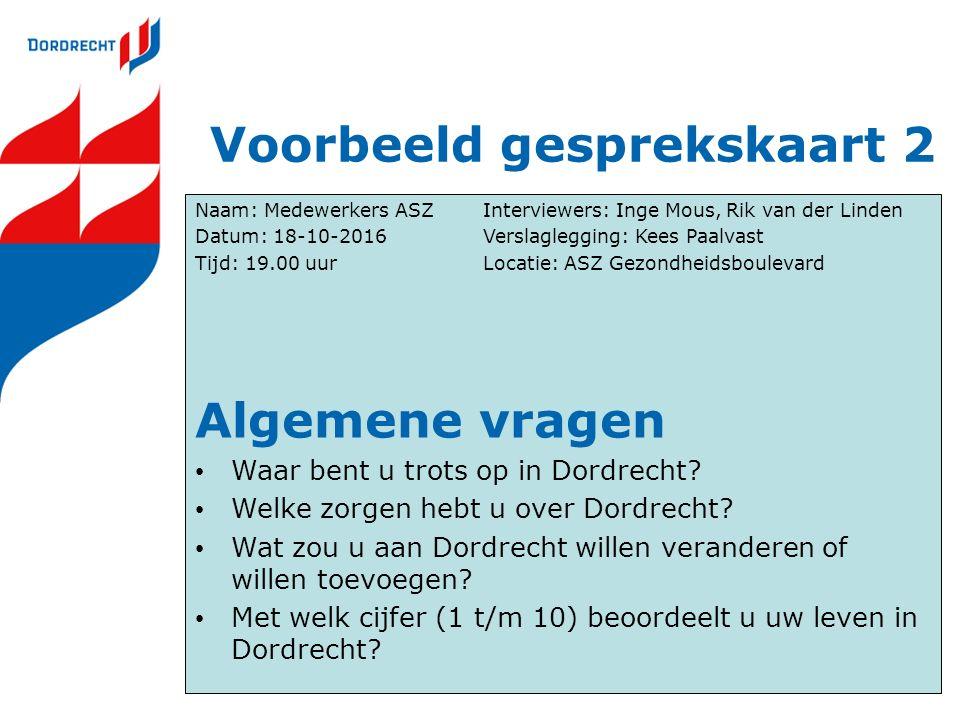 Voorbeeld gesprekskaart 2 Naam: Medewerkers ASZInterviewers: Inge Mous, Rik van der Linden Datum: 18-10-2016Verslaglegging: Kees Paalvast Tijd: 19.00 uurLocatie: ASZ Gezondheidsboulevard Algemene vragen Waar bent u trots op in Dordrecht.