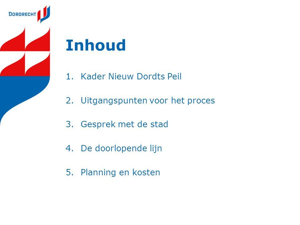 Inhoud 1.Kader Nieuw Dordts Peil 2.Uitgangspunten voor het proces 3.Gesprek met de stad 4.De doorlopende lijn 5.Planning en kosten