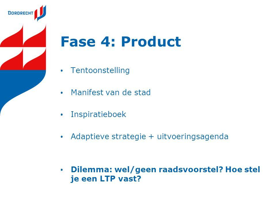 Fase 4: Product Tentoonstelling Manifest van de stad Inspiratieboek Adaptieve strategie + uitvoeringsagenda Dilemma: wel/geen raadsvoorstel? Hoe stel
