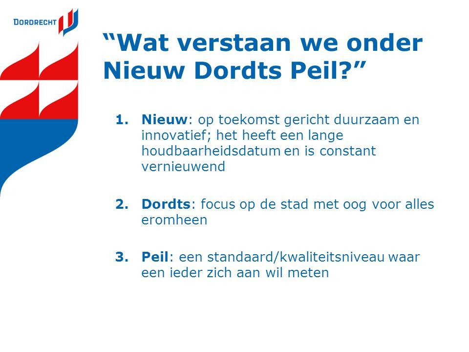 """""""Wat verstaan we onder Nieuw Dordts Peil?"""" 1.Nieuw: op toekomst gericht duurzaam en innovatief; het heeft een lange houdbaarheidsdatum en is constant"""