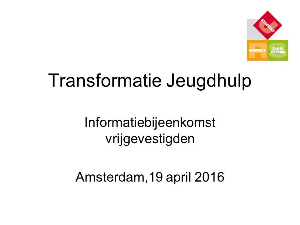 Transformatie Jeugdhulp Informatiebijeenkomst vrijgevestigden Amsterdam,19 april 2016