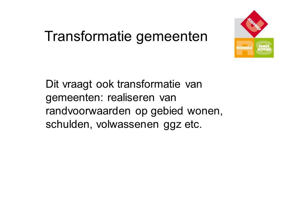 Transformatie gemeenten Dit vraagt ook transformatie van gemeenten: realiseren van randvoorwaarden op gebied wonen, schulden, volwassenen ggz etc.