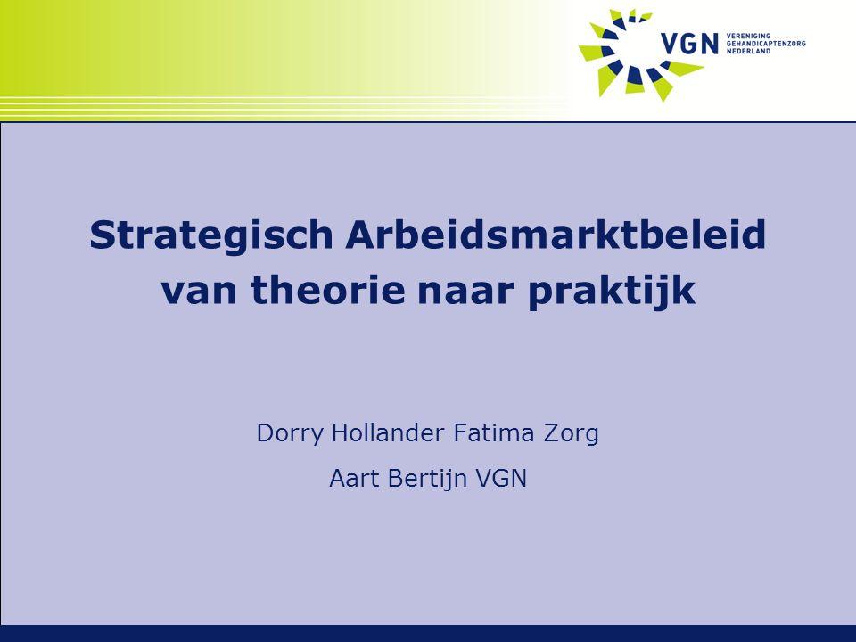 Strategisch Arbeidsmarktbeleid van theorie naar praktijk Dorry Hollander Fatima Zorg Aart Bertijn VGN