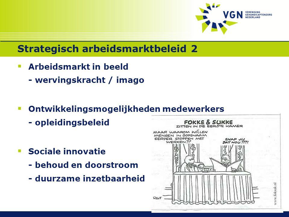 Strategisch arbeidsmarktbeleid 2  Arbeidsmarkt in beeld - wervingskracht / imago  Ontwikkelingsmogelijkheden medewerkers - opleidingsbeleid  Sociale innovatie - behoud en doorstroom - duurzame inzetbaarheid