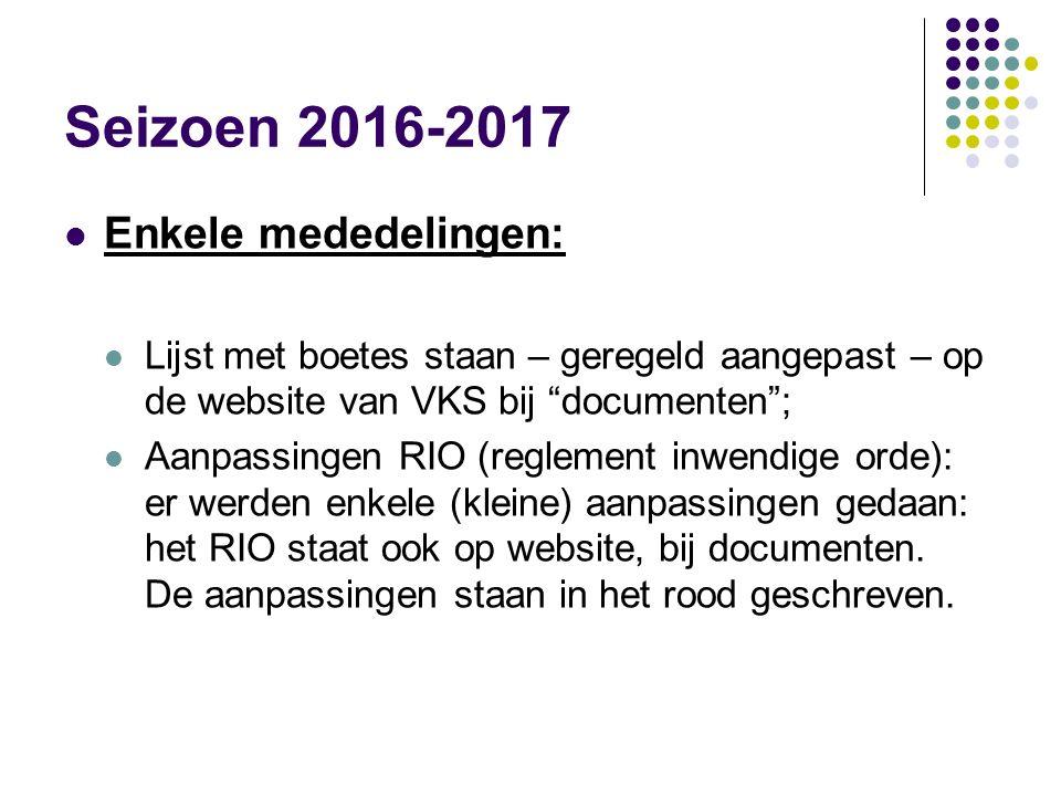 """Seizoen 2016-2017 Enkele mededelingen: Lijst met boetes staan – geregeld aangepast – op de website van VKS bij """"documenten""""; Aanpassingen RIO (regleme"""