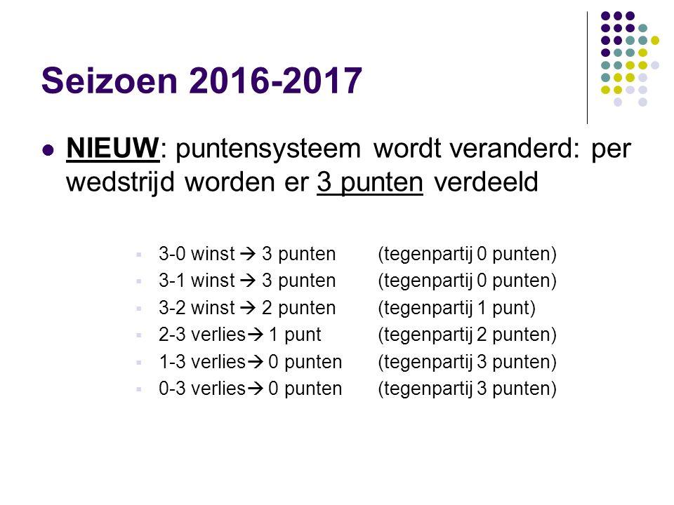Seizoen 2016-2017 NIEUW: puntensysteem wordt veranderd: per wedstrijd worden er 3 punten verdeeld  3-0 winst  3 punten(tegenpartij 0 punten)  3-1 w