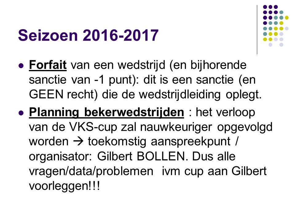 Seizoen 2016-2017 Planning bekerwedstrijden (vervolg) Ingevolge nauwe samenwerking met KLVV zullen de bekerfinales plaatsvinden samen met de bekerfinales van het KLVV in het Paasweekend : 15  17 april 2017.