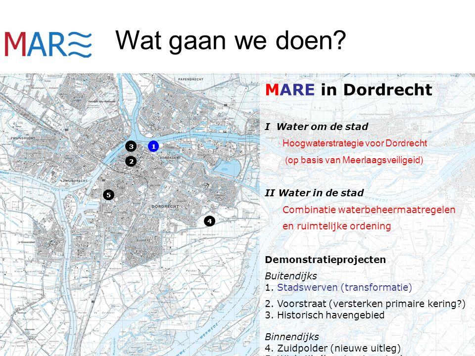 MARE in Dordrecht I Water om de stad Hoogwaterstrategie voor Dordrecht (op basis van Meerlaagsveiligeid) II Water in de stad Combinatie waterbeheermaatregelen en ruimtelijke ordening Demonstratieprojecten Buitendijks 1.
