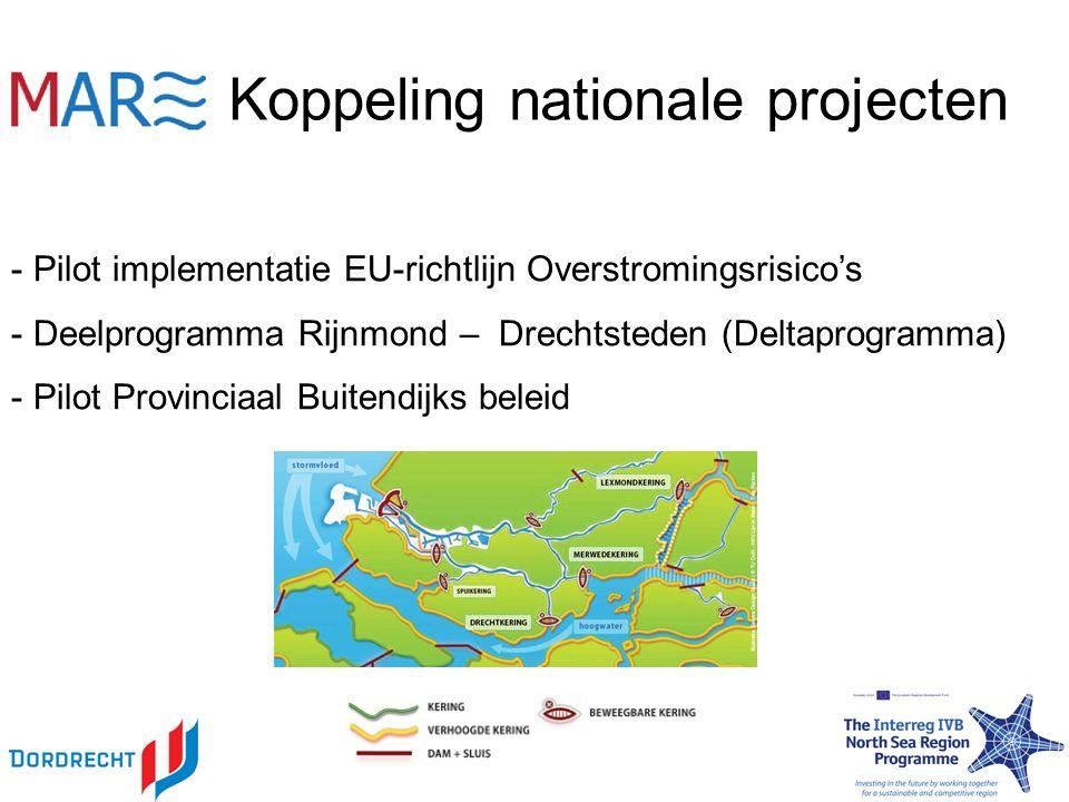 Koppeling nationale projecten - Pilot implementatie EU-richtlijn Overstromingsrisico's - Deelprogramma Rijnmond – Drechtsteden (Deltaprogramma) - Pilot Provinciaal Buitendijks beleid