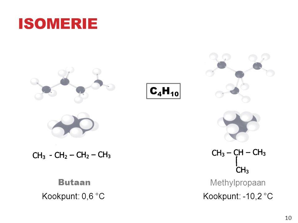 ISOMERIE 10 Butaan Kookpunt: 0,6 °C Methylpropaan Kookpunt: ‑ 10,2 °C C 4 H 10 10