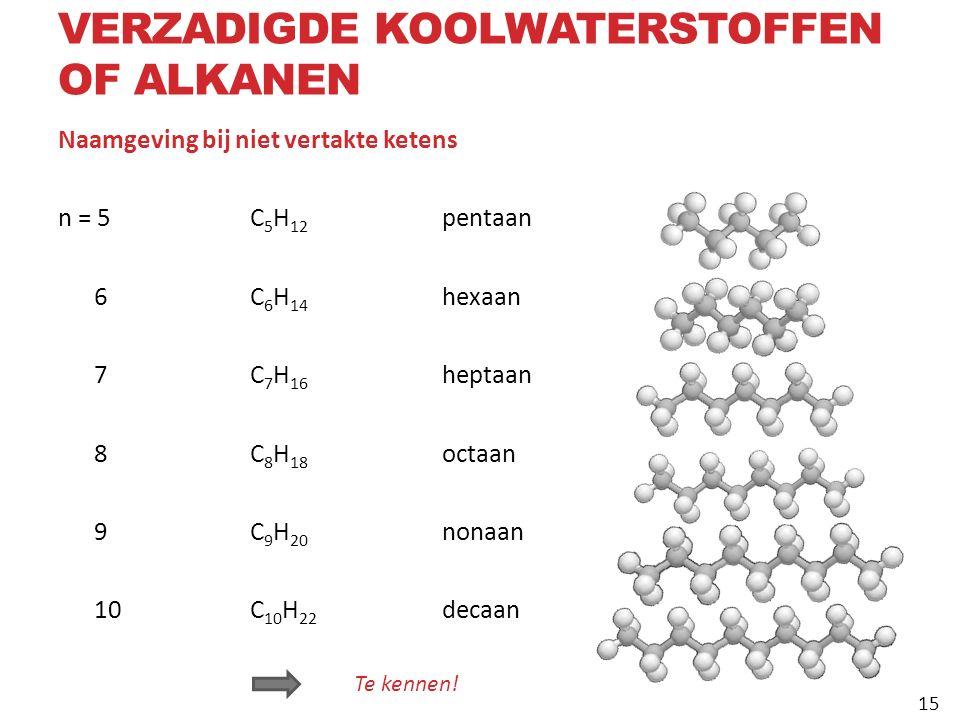 Naamgeving bij niet vertakte ketens n = 5C 5 H 12 pentaan 6C 6 H 14 hexaan 7C 7 H 16 heptaan 8C 8 H 18 octaan 9C 9 H 20 nonaan 10C 10 H 22 decaan Te kennen.