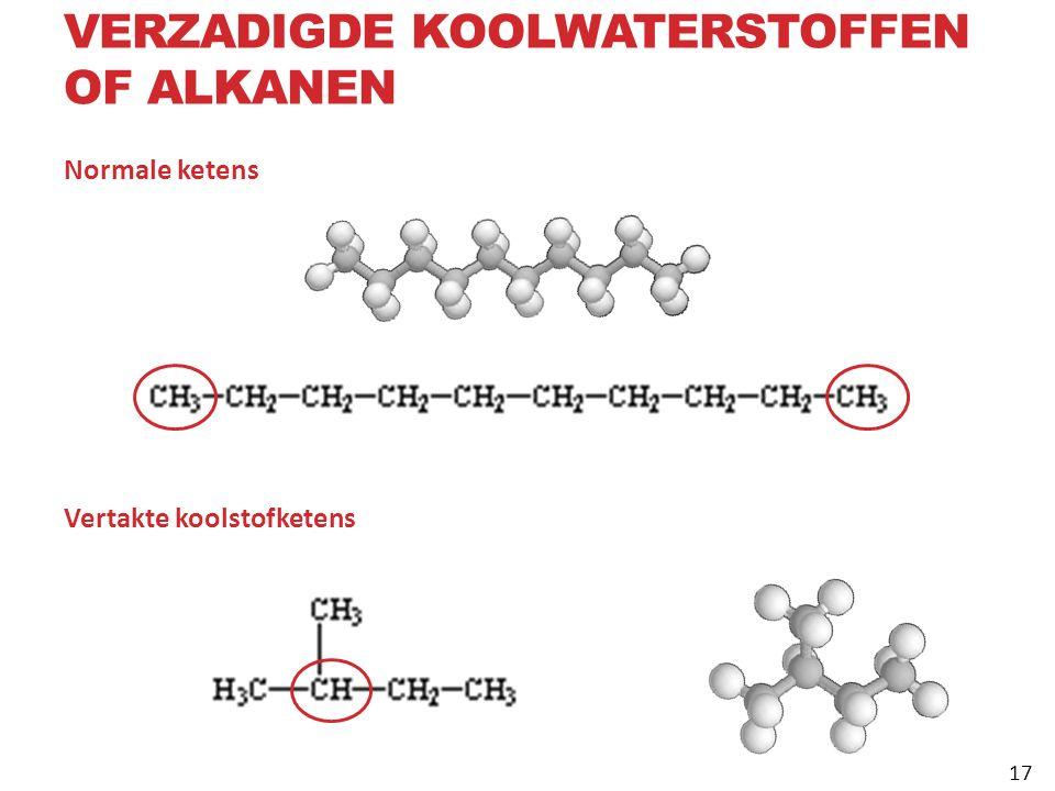 Normale ketens Vertakte koolstofketens VERZADIGDE KOOLWATERSTOFFEN OF ALKANEN 17