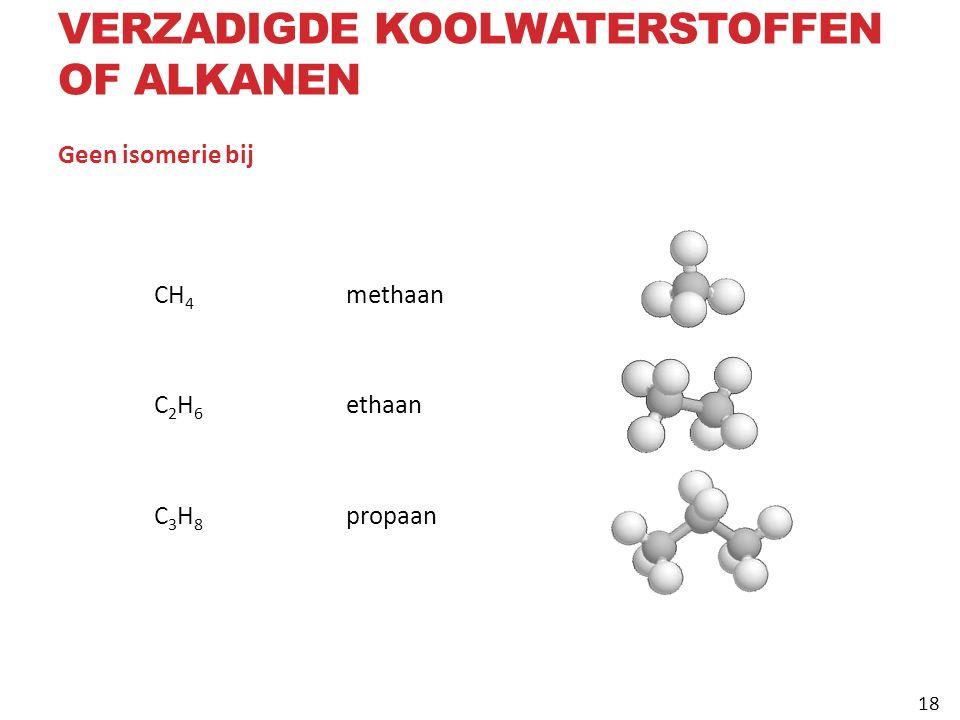 Geen isomerie bij CH 4 methaan C 2 H 6 ethaan C 3 H 8 propaan VERZADIGDE KOOLWATERSTOFFEN OF ALKANEN 18