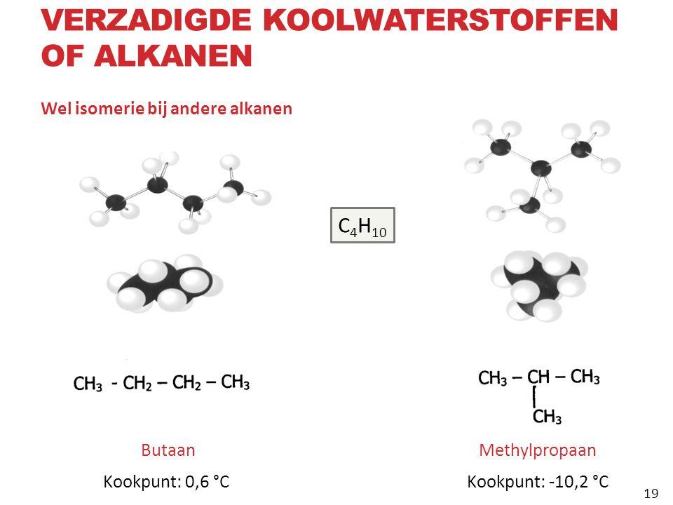 Wel isomerie bij andere alkanen 19 Butaan Kookpunt: 0,6 °C Methylpropaan Kookpunt: ‑ 10,2 °C C 4 H 10 VERZADIGDE KOOLWATERSTOFFEN OF ALKANEN 19