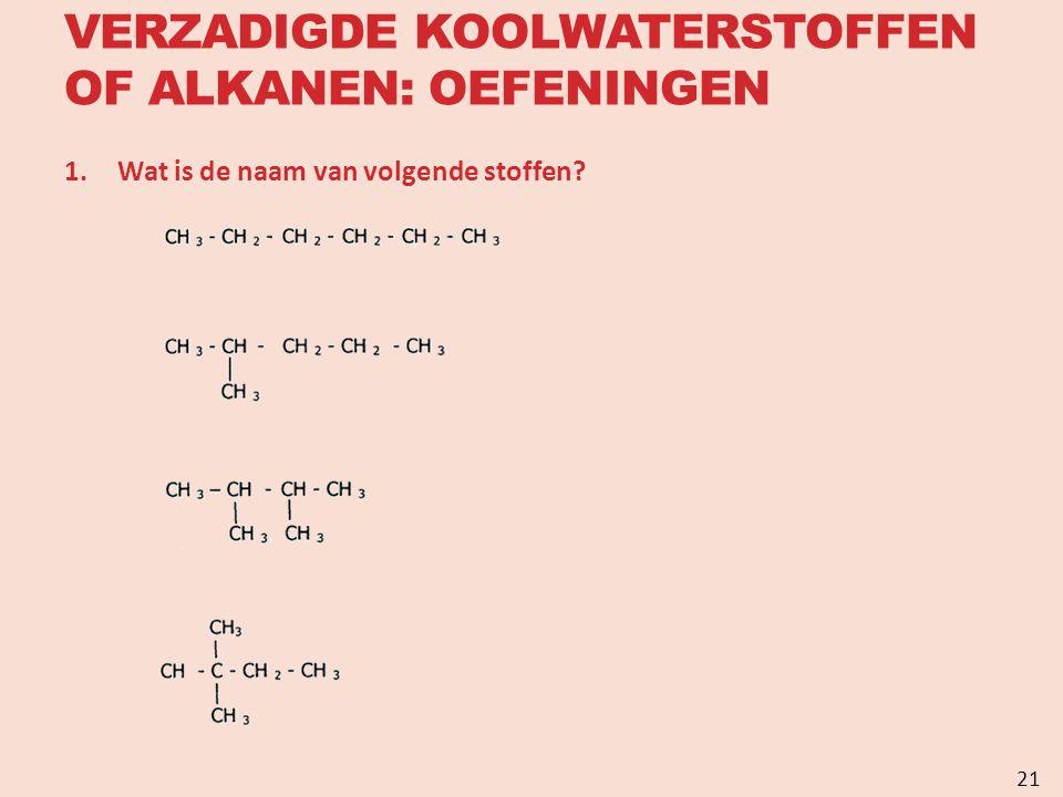 VERZADIGDE KOOLWATERSTOFFEN OF ALKANEN: OEFENINGEN 1.Wat is de naam van volgende stoffen? 21