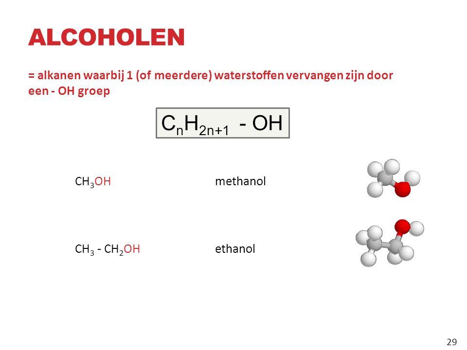 ALCOHOLEN = alkanen waarbij 1 (of meerdere) waterstoffen vervangen zijn door een ‑ OH groep CH 3 OHmethanol CH 3 ‑ CH 2 OH ethanol C n H 2n+1 ‑ OH 29