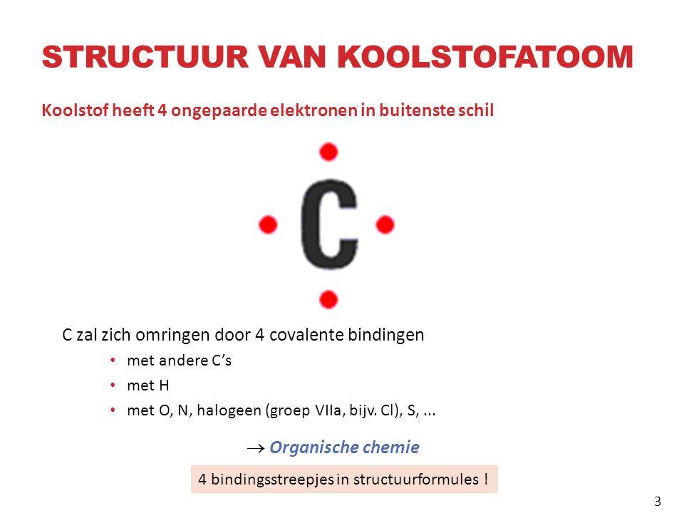 STRUCTUUR VAN KOOLSTOFATOOM Koolstof heeft 4 ongepaarde elektronen in buitenste schil C zal zich omringen door 4 covalente bindingen met andere C's met H met O, N, halogeen (groep VIIa, bijv.