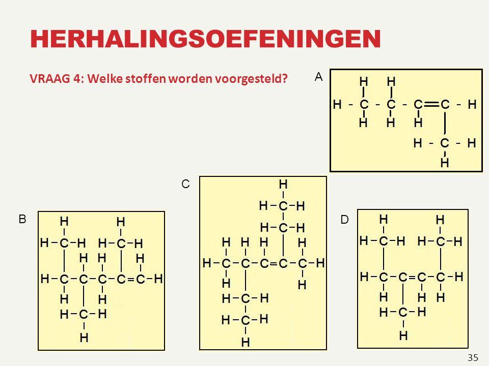 HERHALINGSOEFENINGEN VRAAG 4: Welke stoffen worden voorgesteld? 35 A B C D