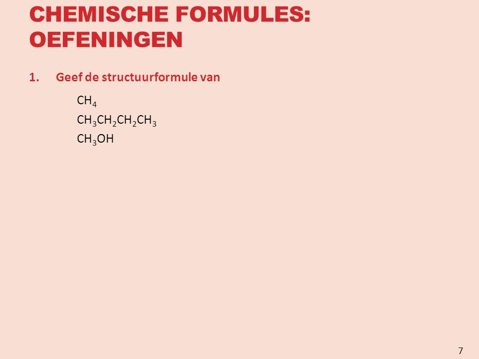 ISOMERIE Anorganische scheikunde Meestal eenvoudige moleculaire structuur Chemische formule geeft Atoomsoorten Onderlinge verhouding Geen aanduidingen over de manier waarop en volgorde waarin de atomen onderling gebonden zijn Voorbeeld NaCl H 2 SO 4 Organische scheikunde Vaak zelfde moleculaire formule voor verschillende stoffen met totaal verschillende eigenschappen 8