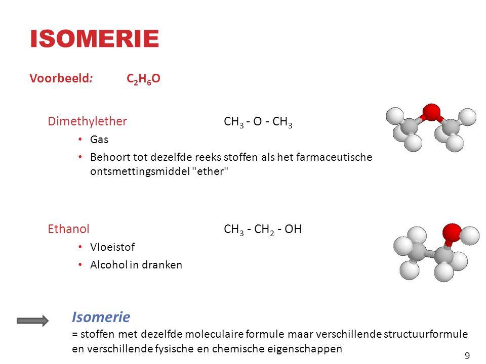 ISOMERIE Voorbeeld: C 2 H 6 O DimethyletherCH 3 - O - CH 3 Gas Behoort tot dezelfde reeks stoffen als het farmaceutische ontsmettingsmiddel ether Ethanol CH 3 - CH 2 - OH Vloeistof Alcohol in dranken Isomerie = stoffen met dezelfde moleculaire formule maar verschillende structuurformule en verschillende fysische en chemische eigenschappen 9