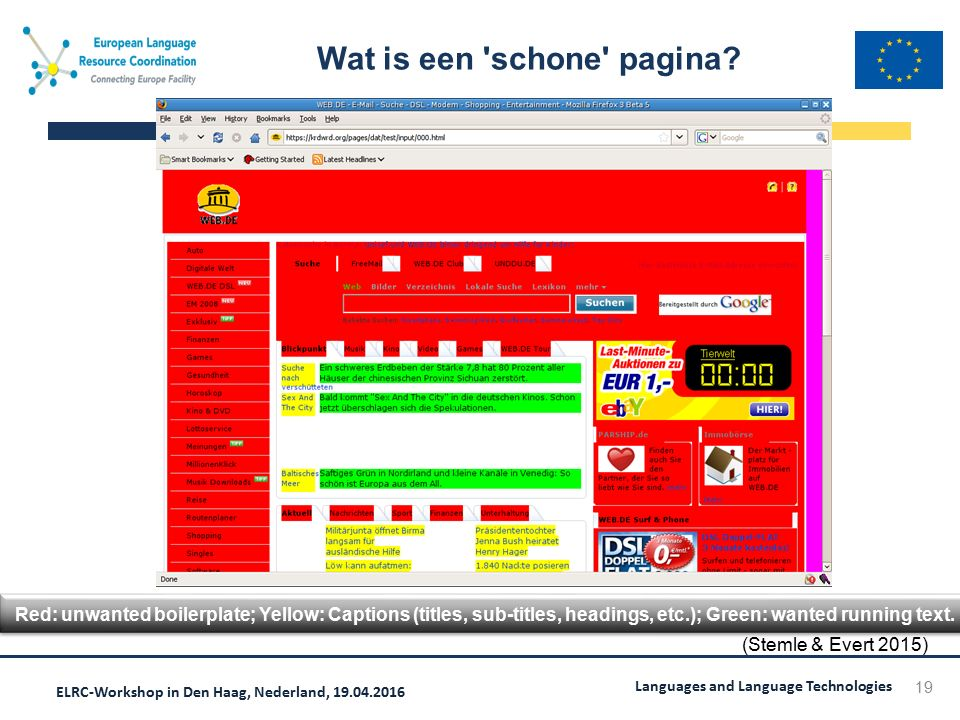 ELRC-Workshop in Den Haag, Nederland, 19.04.2016 Languages and Language Technologies Wat is een 'schone' pagina? 19 Red: unwanted boilerplate; Yellow:
