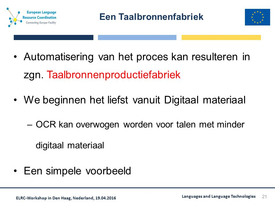 ELRC-Workshop in Den Haag, Nederland, 19.04.2016 Languages and Language Technologies Automatisering van het proces kan resulteren in zgn.