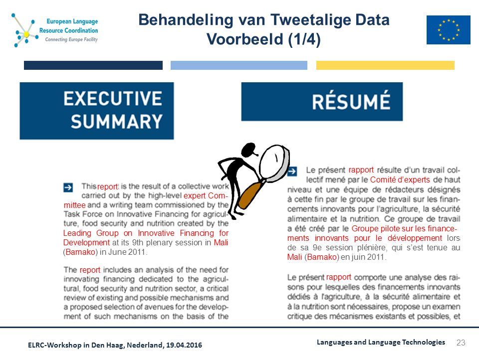 ELRC-Workshop in Den Haag, Nederland, 19.04.2016 Languages and Language Technologies Behandeling van Tweetalige Data Voorbeeld (1/4) 23 Leading Group on Innovative Financing for Development at its 9th plenary session in Mali (Bamako) in June 2011.