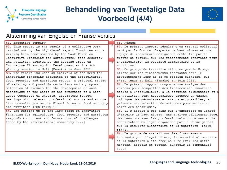ELRC-Workshop in Den Haag, Nederland, 19.04.2016 Languages and Language Technologies S1. Résumé S2. Le présent rapport résulte d'un travail collectif
