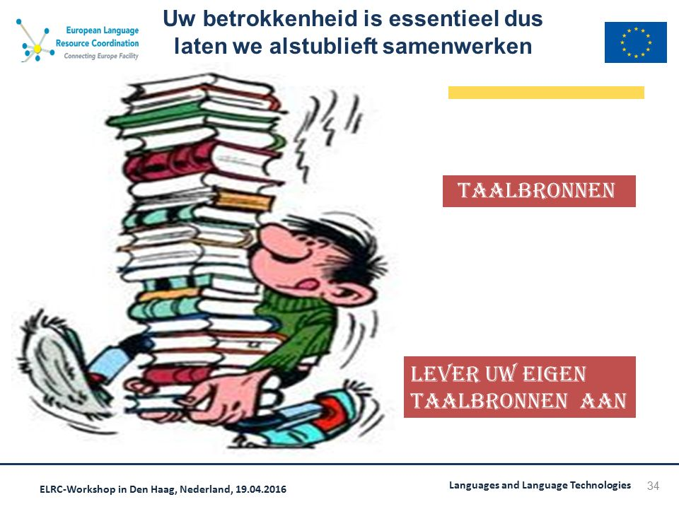 ELRC-Workshop in Den Haag, Nederland, 19.04.2016 Languages and Language Technologies Uw betrokkenheid is essentieel dus laten we alstublieft samenwerk