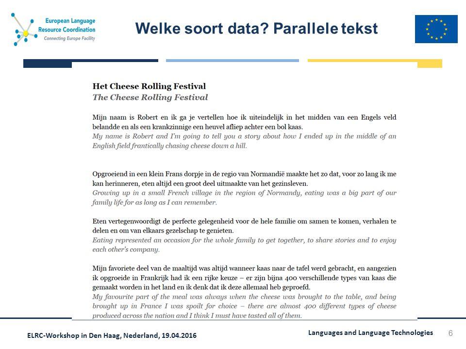 ELRC-Workshop in Den Haag, Nederland, 19.04.2016 Languages and Language Technologies 37  Hoe kunt u helpen data te uploaden  Bekijk hiervoor de informatie op de REPOSITORY setup  Hoeveel data is nodig?