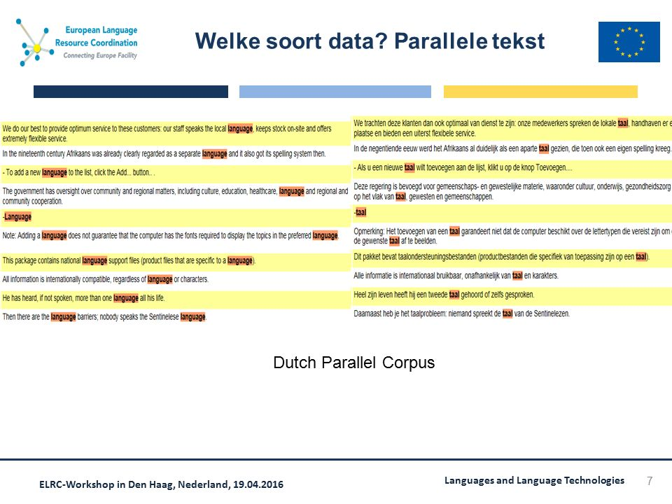 ELRC-Workshop in Den Haag, Nederland, 19.04.2016 Languages and Language Technologies Welke soort data? Parallele tekst 7 Dutch Parallel Corpus