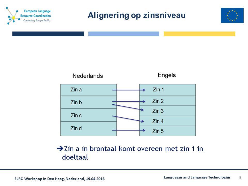 ELRC-Workshop in Den Haag, Nederland, 19.04.2016 Languages and Language Technologies Alignering op zinsniveau 9