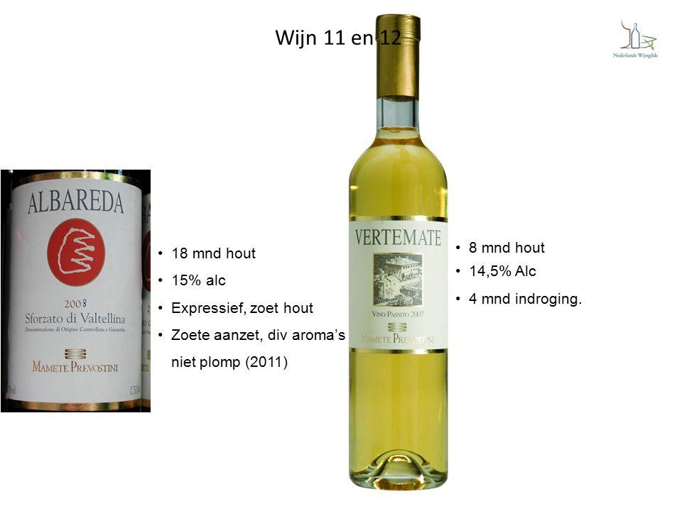 Wijn 11 en 12 18 mnd hout 15% alc Expressief, zoet hout Zoete aanzet, div aroma's niet plomp (2011) 8 mnd hout 14,5% Alc 4 mnd indroging.