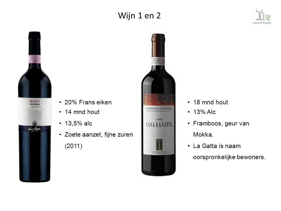 Wijn 1 en 2 20% Frans eiken 14 mnd hout 13,5% alc Zoete aanzet, fijne zuren (2011) 18 mnd hout 13% Alc Framboos, geur van Mokka.