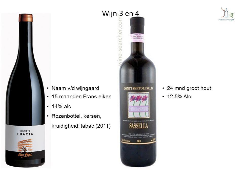 24 mnd groot hout 12,5% Alc. Naam v/d wijngaard 15 maanden Frans eiken 14% alc Rozenbottel, kersen, kruidigheid, tabac (2011) Wijn 3 en 4