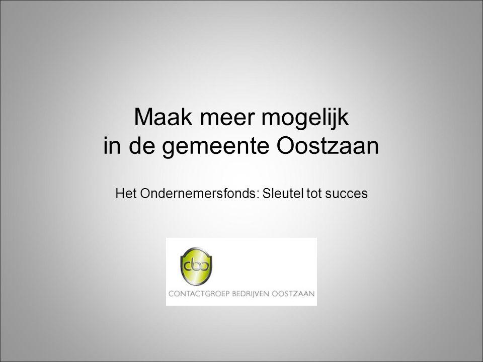 Maak meer mogelijk in de gemeente Oostzaan Het Ondernemersfonds: Sleutel tot succes