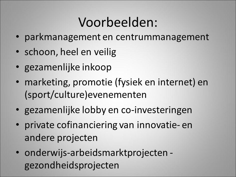 Voorbeelden: parkmanagement en centrummanagement schoon, heel en veilig gezamenlijke inkoop marketing, promotie (fysiek en internet) en (sport/culture)evenementen gezamenlijke lobby en co-investeringen private cofinanciering van innovatie- en andere projecten onderwijs-arbeidsmarktprojecten - gezondheidsprojecten