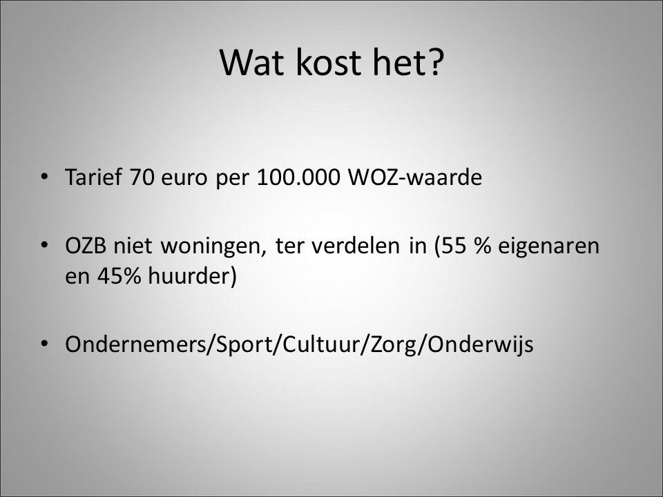 Wat kost het? Tarief 70 euro per 100.000 WOZ-waarde OZB niet woningen, ter verdelen in (55 % eigenaren en 45% huurder) Ondernemers/Sport/Cultuur/Zorg/