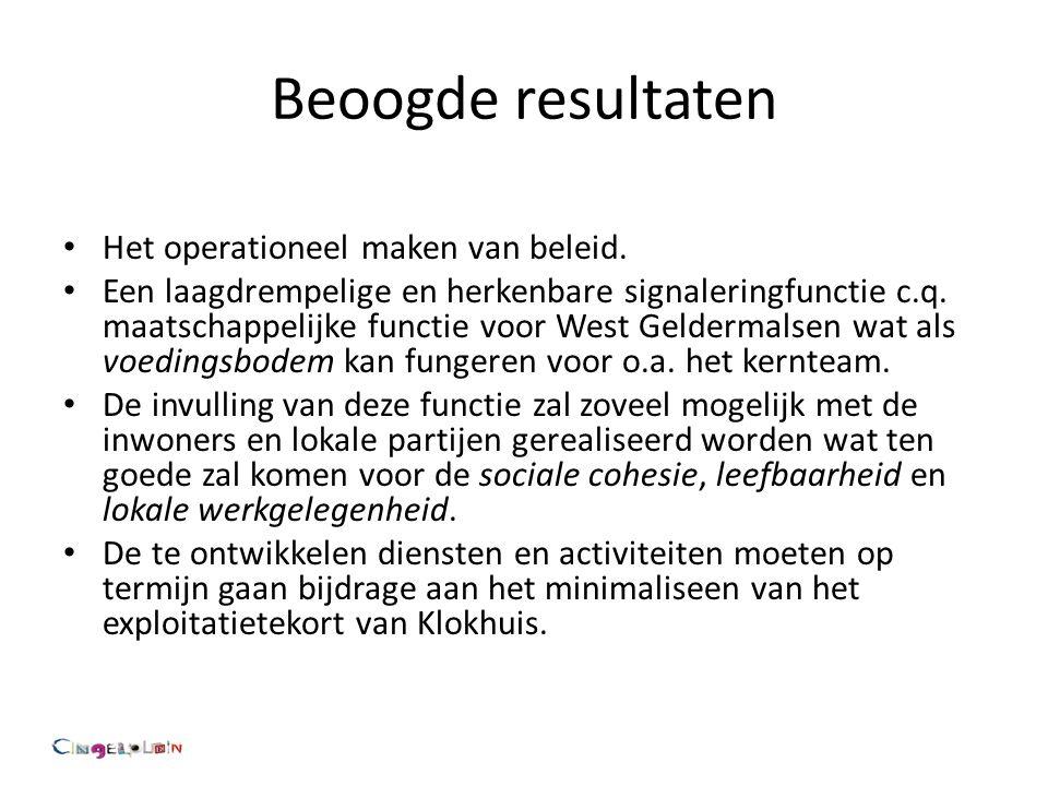 Beoogde resultaten Het operationeel maken van beleid.