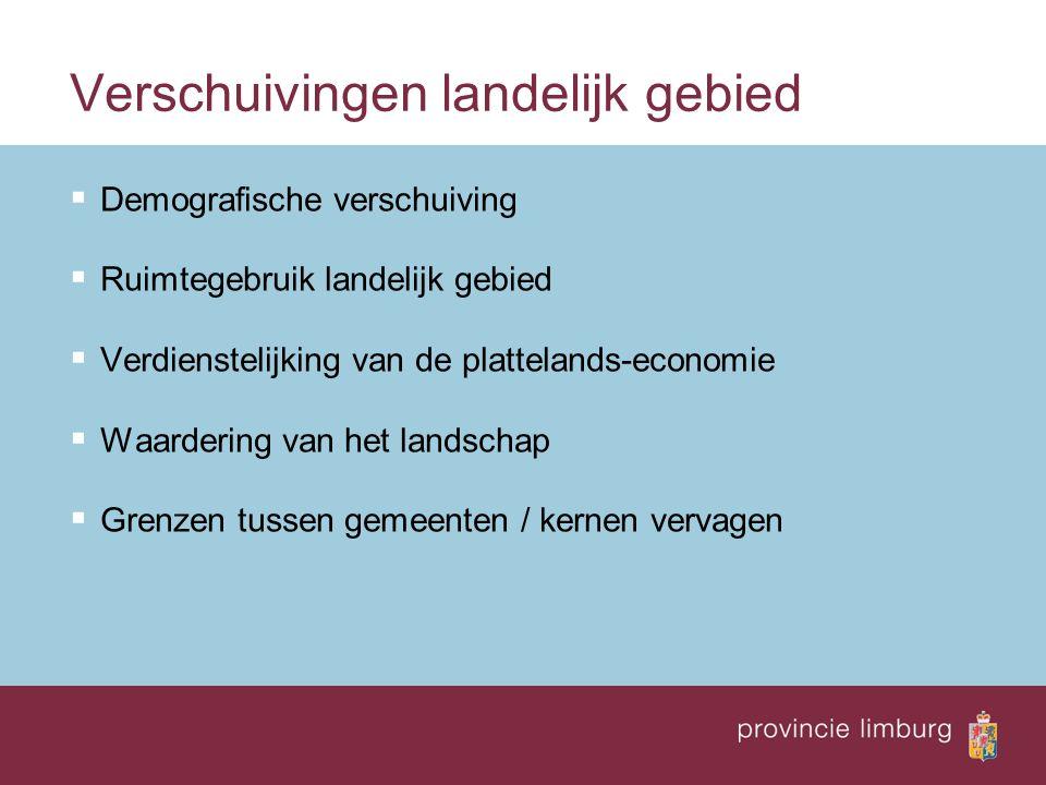 Verschuivingen landelijk gebied  Demografische verschuiving  Ruimtegebruik landelijk gebied  Verdienstelijking van de plattelands-economie  Waarde