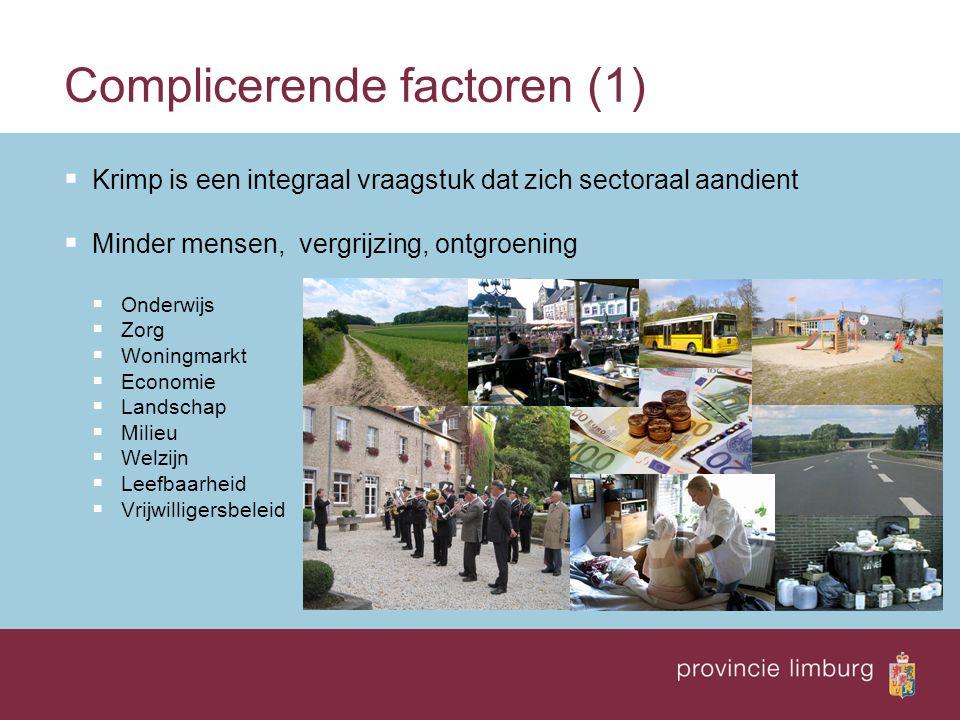 Complicerende factoren (1)  Krimp is een integraal vraagstuk dat zich sectoraal aandient  Minder mensen, vergrijzing, ontgroening  Onderwijs  Zorg  Woningmarkt  Economie  Landschap  Milieu  Welzijn  Leefbaarheid  Vrijwilligersbeleid