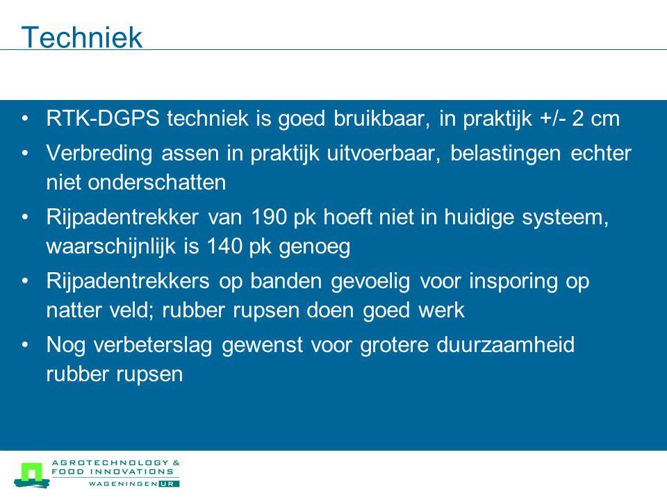 Techniek RTK-DGPS techniek is goed bruikbaar, in praktijk +/- 2 cm Verbreding assen in praktijk uitvoerbaar, belastingen echter niet onderschatten Rij
