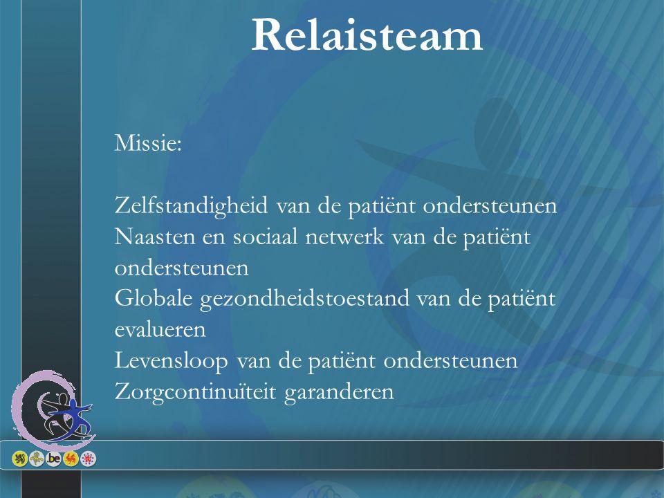 Missie: Zelfstandigheid van de patiënt ondersteunen Naasten en sociaal netwerk van de patiënt ondersteunen Globale gezondheidstoestand van de patiënt evalueren Levensloop van de patiënt ondersteunen Zorgcontinuïteit garanderen Relaisteam
