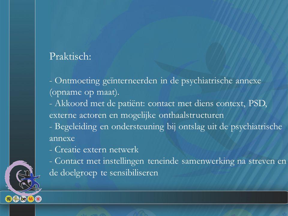 Praktisch: - Ontmoeting geïnterneerden in de psychiatrische annexe (opname op maat).