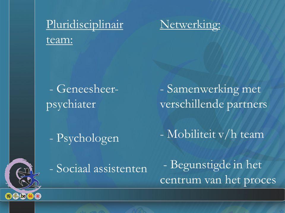 Pluridisciplinair team: - Geneesheer- psychiater - Psychologen - Sociaal assistenten Netwerking: - Samenwerking met verschillende partners - Mobiliteit v/h team - Begunstigde in het centrum van het proces