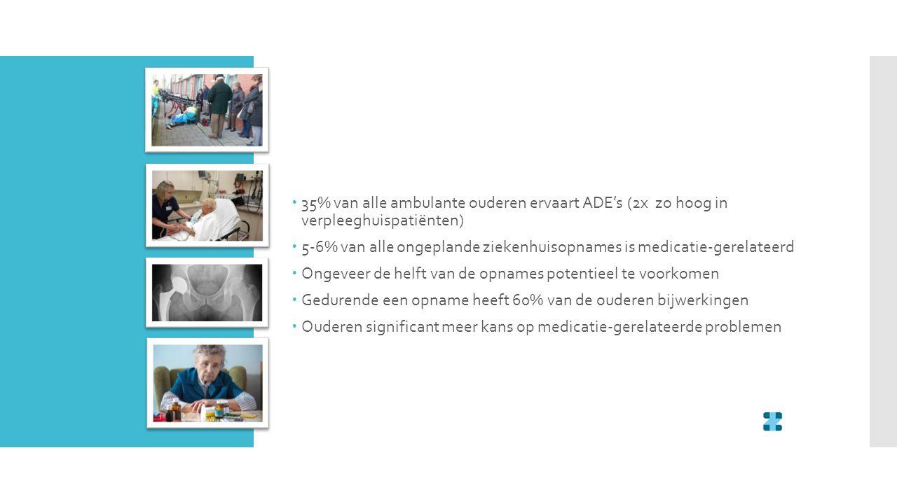  35% van alle ambulante ouderen ervaart ADE's (2x zo hoog in verpleeghuispatiënten)  5-6% van alle ongeplande ziekenhuisopnames is medicatie-gerelat