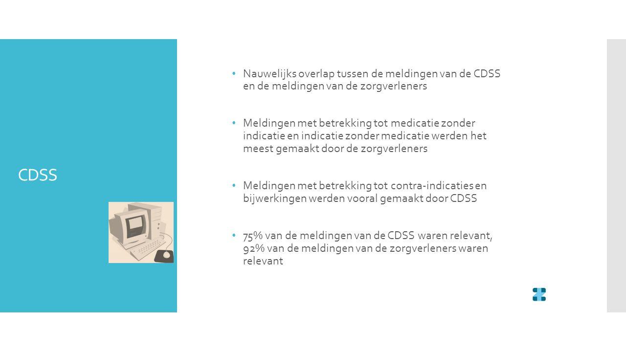 CDSS Nauwelijks overlap tussen de meldingen van de CDSS en de meldingen van de zorgverleners Meldingen met betrekking tot medicatie zonder indicatie e