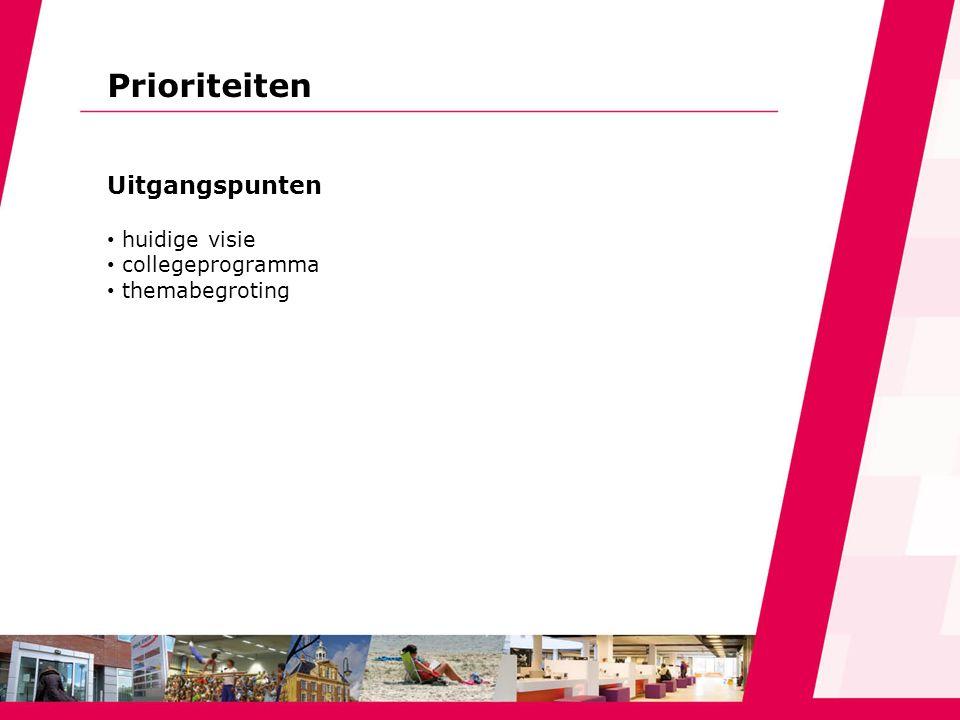 Prioriteiten huidige visie collegeprogramma themabegroting Uitgangspunten
